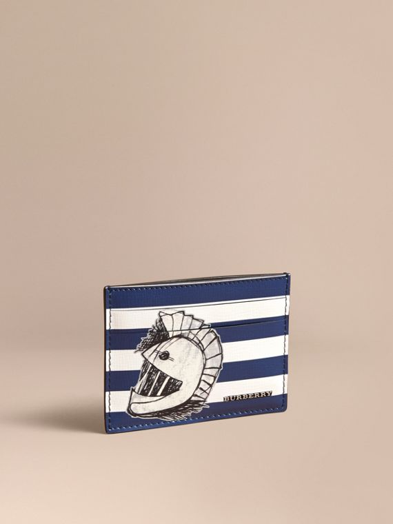 Striped London Leather Card Case with Pallas Helmet Motif