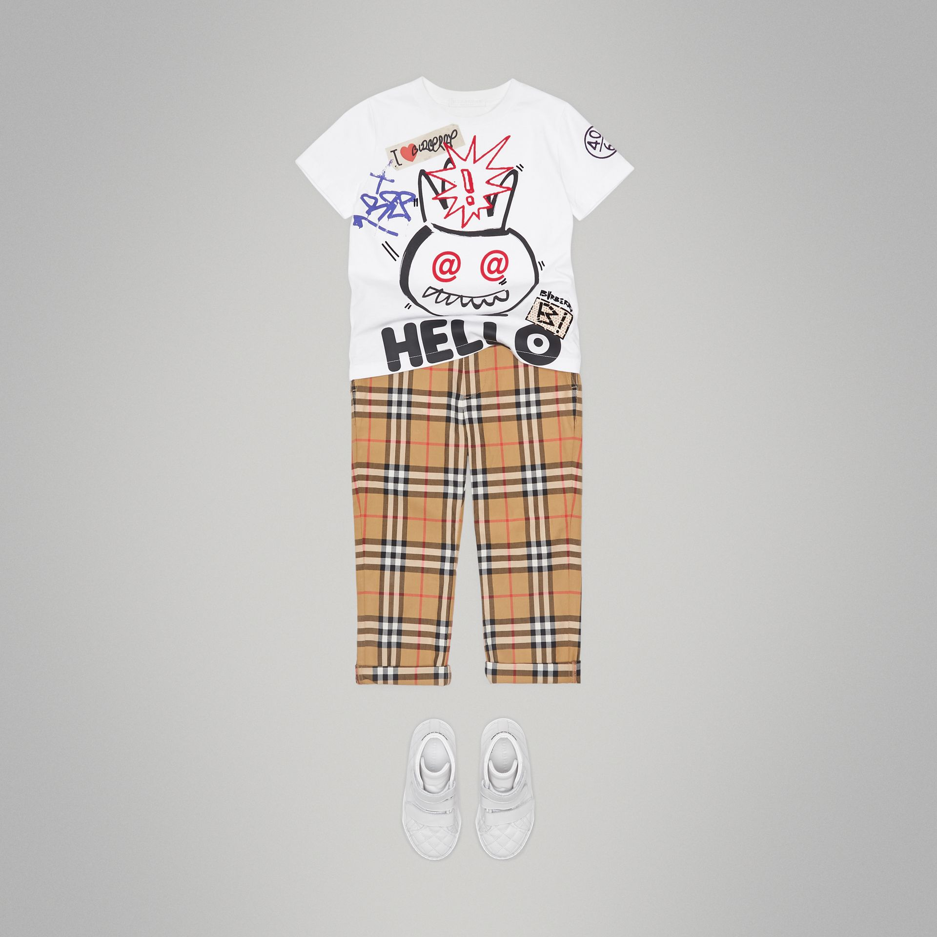 Hello Print Cotton T-shirt in White - Boy | Burberry - gallery image 2
