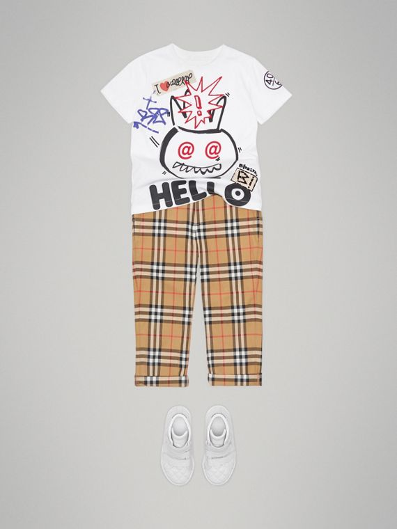 Hello Print Cotton T-shirt in White - Boy | Burberry - cell image 2
