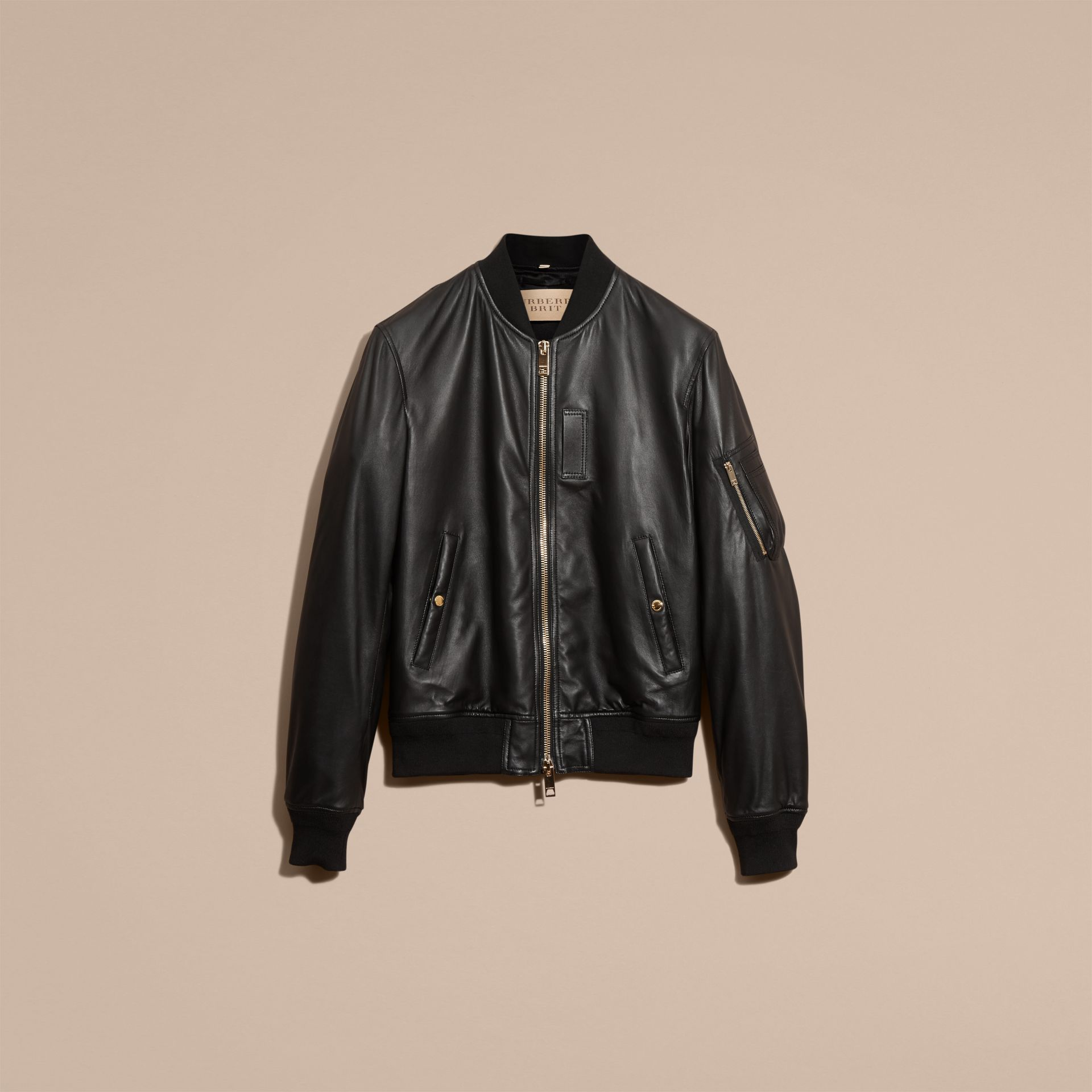 Black Lightweight Lambskin Bomber Jacket Black - gallery image 4