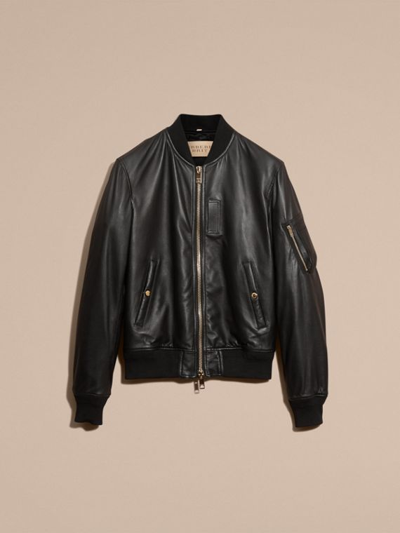Black Lightweight Lambskin Bomber Jacket - cell image 3