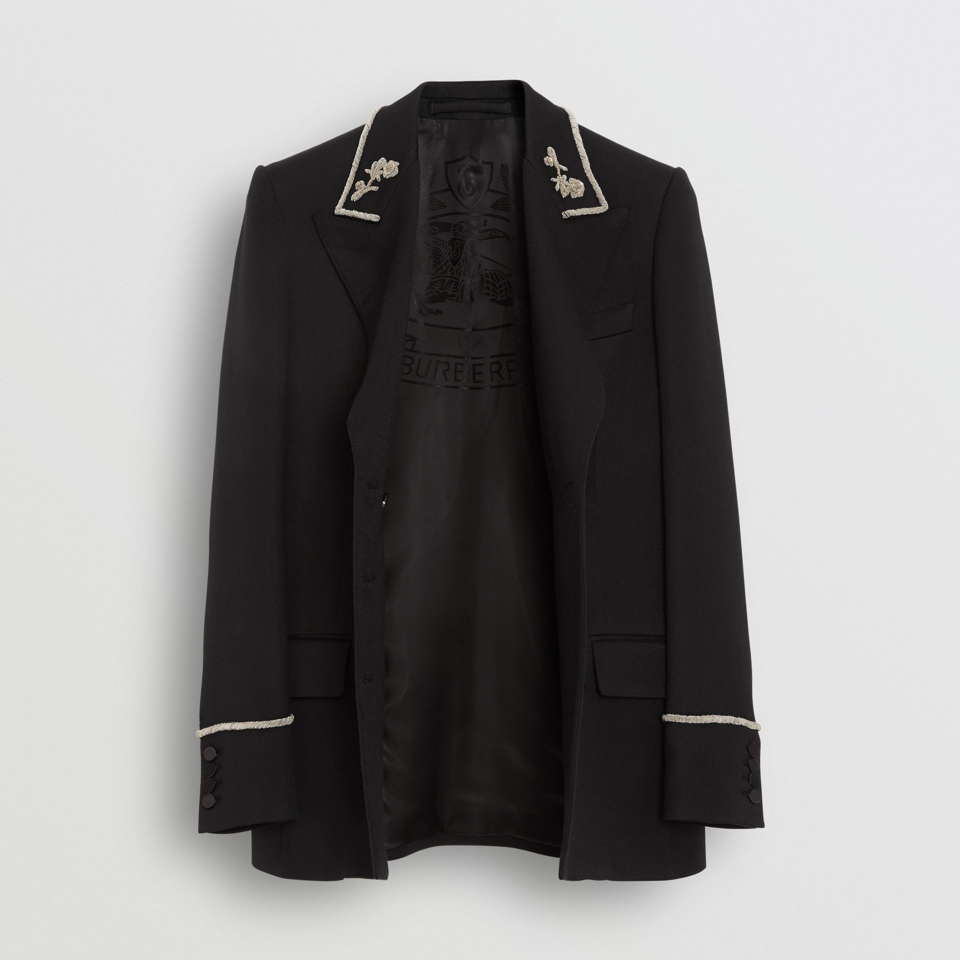 Bullion Stretch Wool Double-breasted Jacket in Black - Women | Burberry - gallery image 5