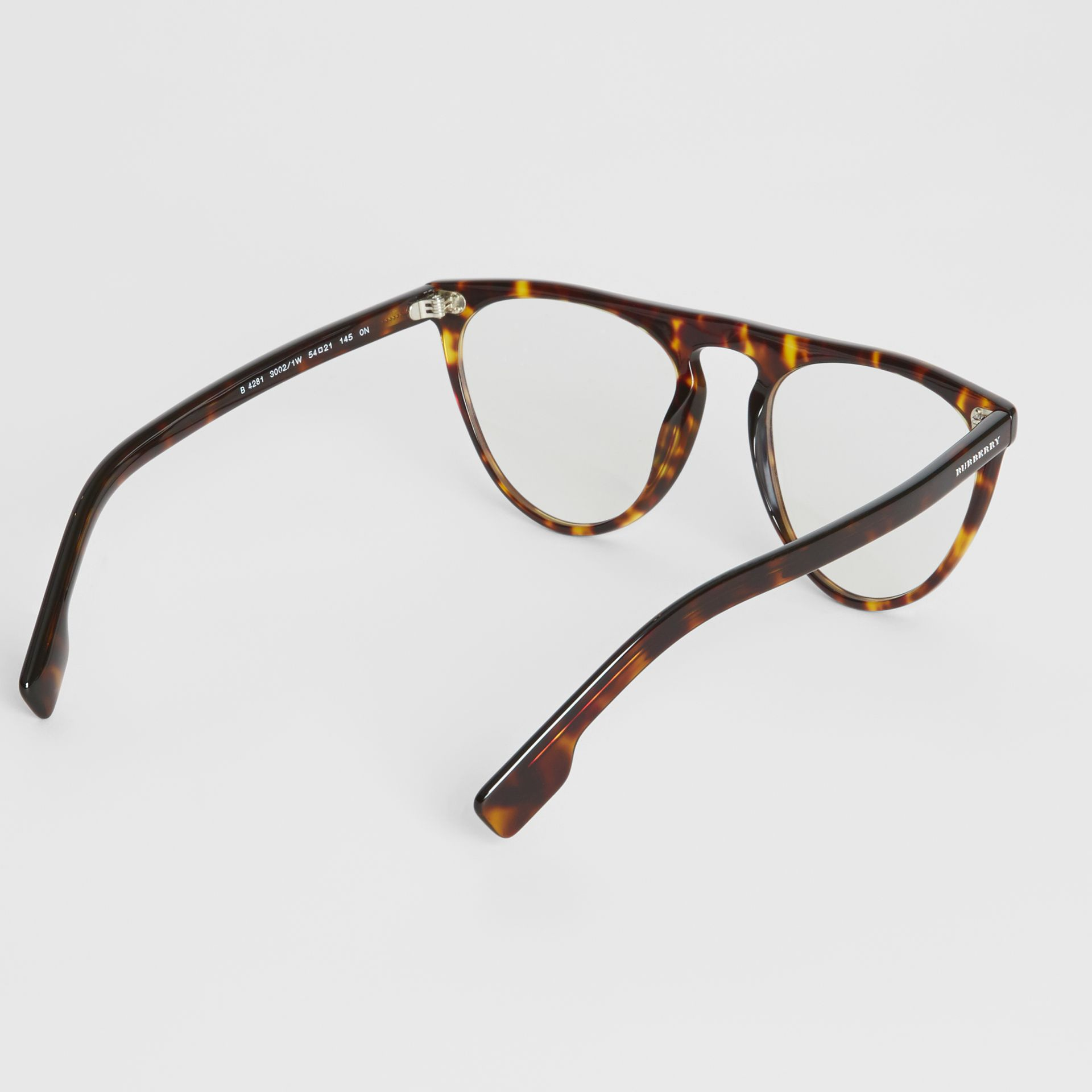 Keyhole D-shaped Optical Frames in Tortoise Shell - Men | Burberry - gallery image 4
