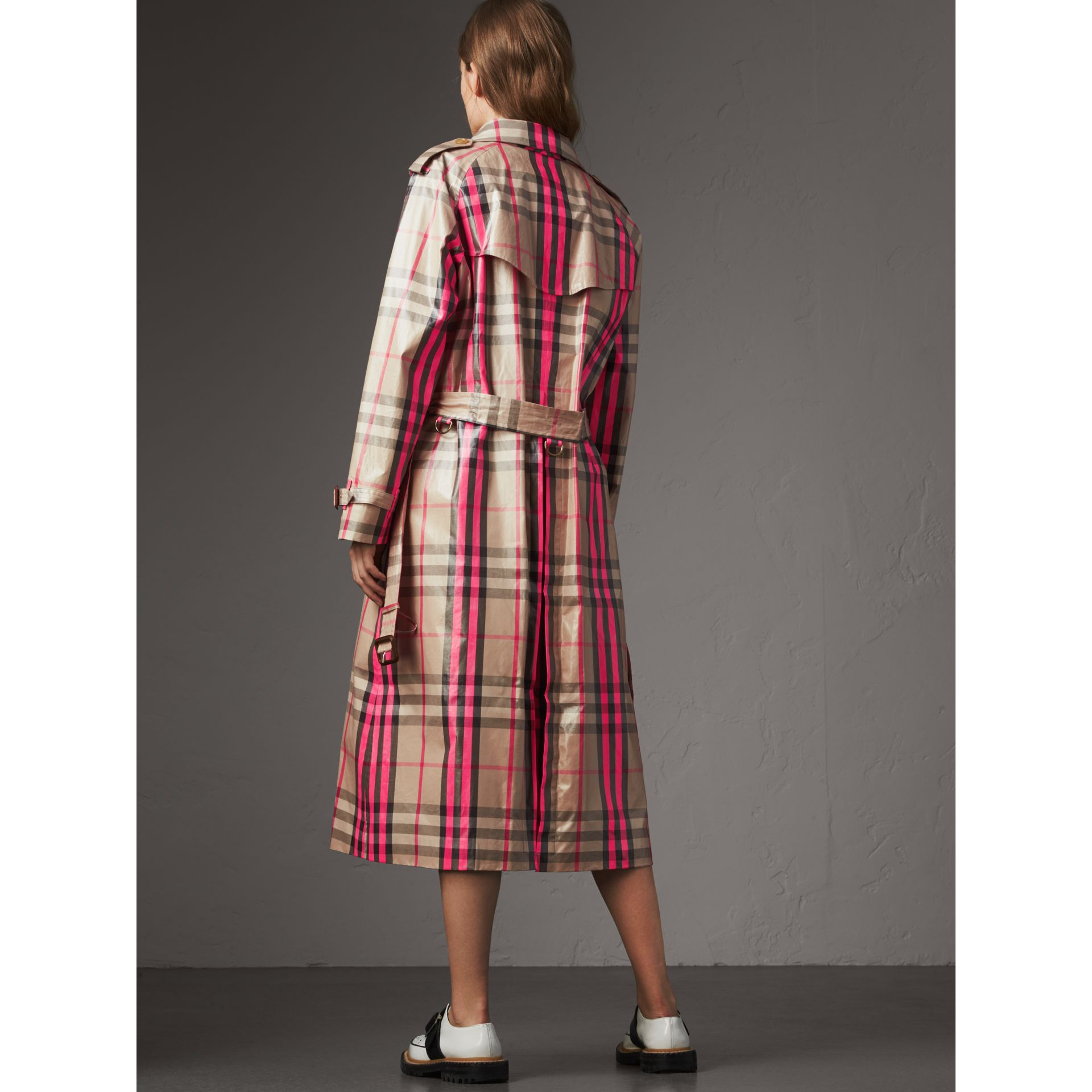 Laminated Check Trench Coat in Neon Pink - Women | Burberry United Kingdom - gallery image 2