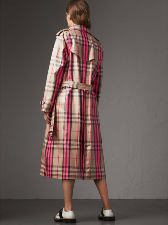Laminated Check Trench Coat in Neon Pink - Women | Burberry - cell image 2