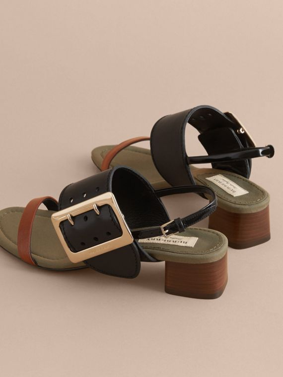 Buckle Detail Leather Mid-heel Sandals - Women | Burberry - cell image 3
