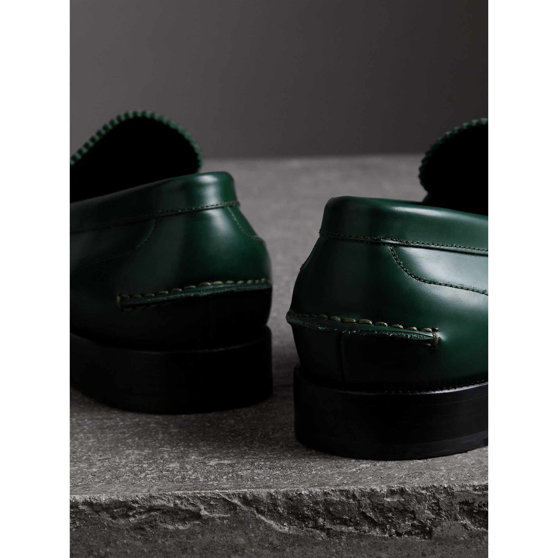 Leather Penny Loafers in Bottle Green - Men | Burberry - gallery image 3