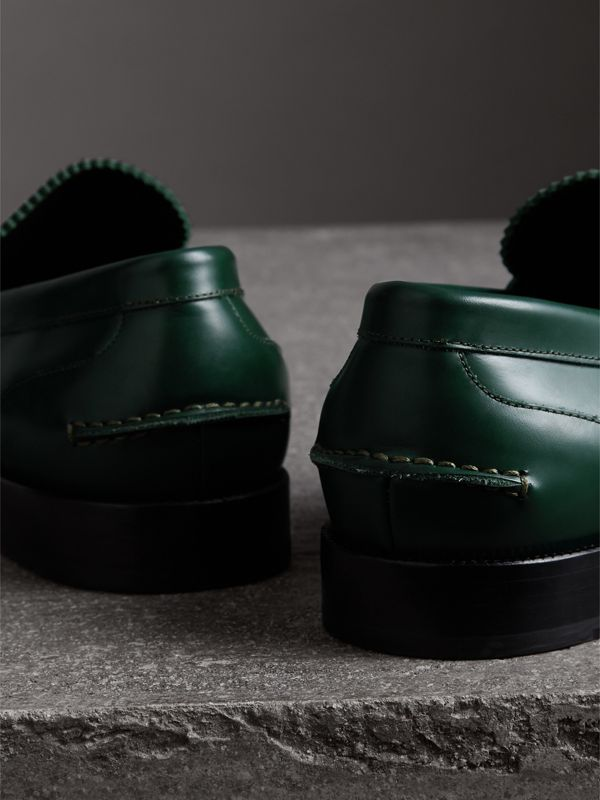 Leather Penny Loafers in Bottle Green - Men | Burberry United Kingdom - cell image 3