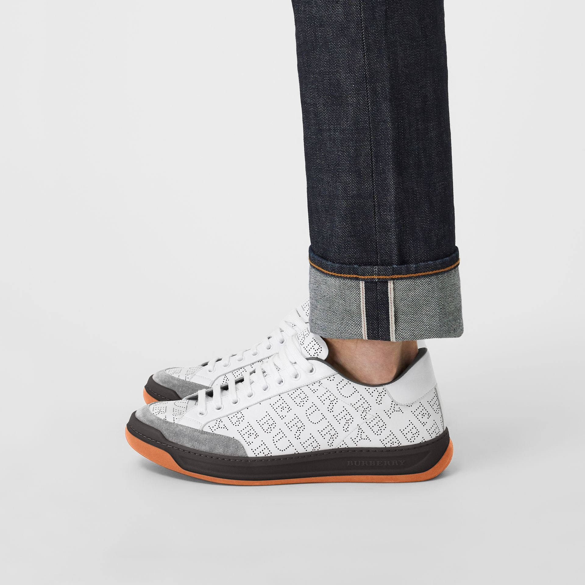 Perforated Logo Leather Sneakers in Optic White/dark Grey Melange - Men | Burberry United Kingdom - gallery image 2