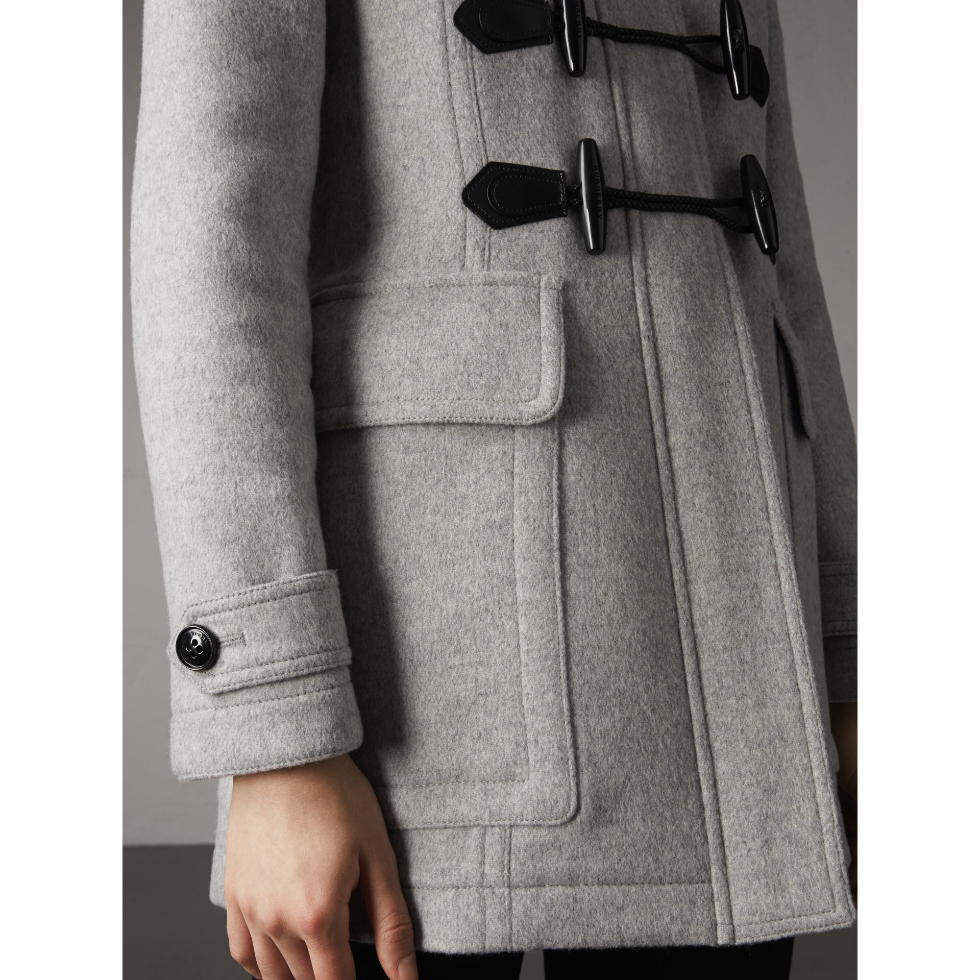 Wool Duffle Coat with Detachable Fur Trim in Light Grey Melange - Women | Burberry - gallery image 5