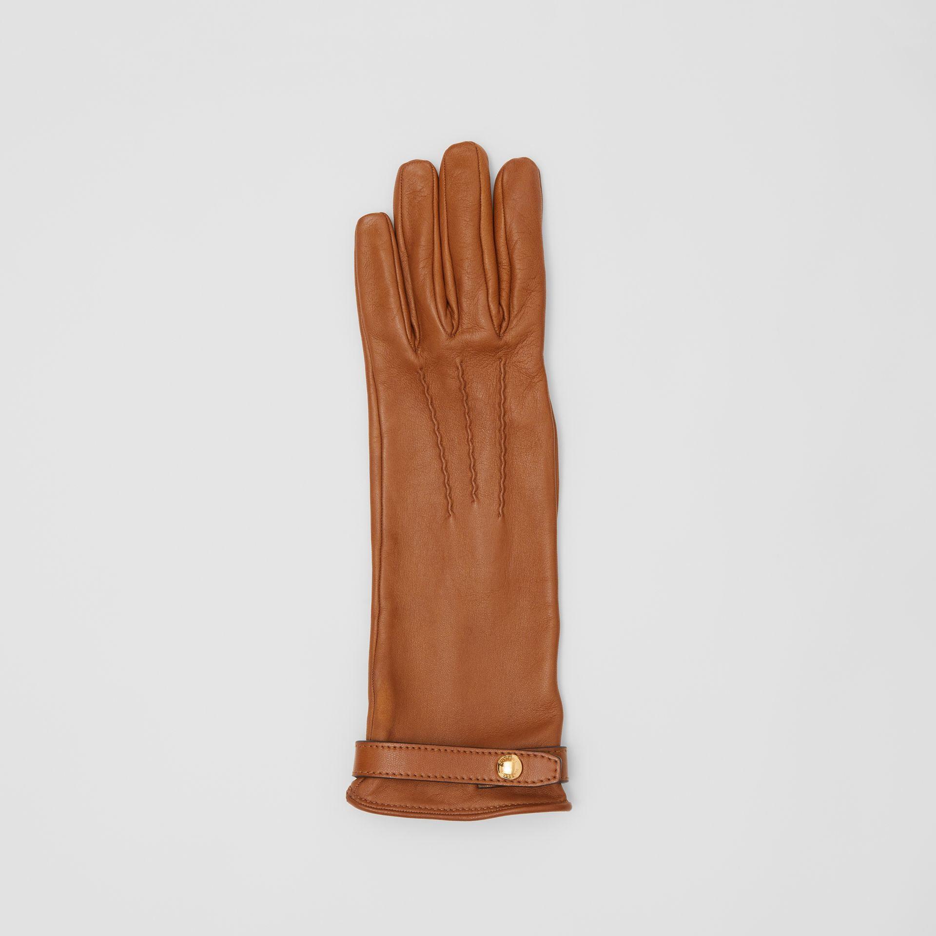 Silk-lined Lambskin Gloves in Brown - Women | Burberry - gallery image 2