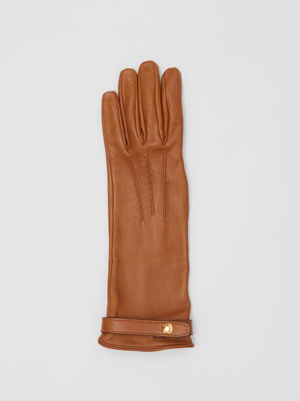 Silk-lined Lambskin Gloves in Brown - Women | Burberry - cell image 2