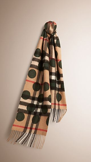 The Classic Cashmere Scarf in Check and Dots