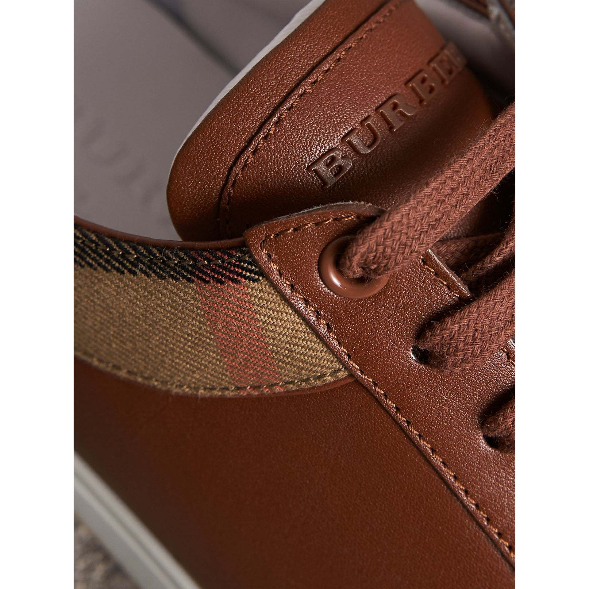 Leather and House Check Trainers in Check/bright Camel - Men | Burberry - gallery image 2