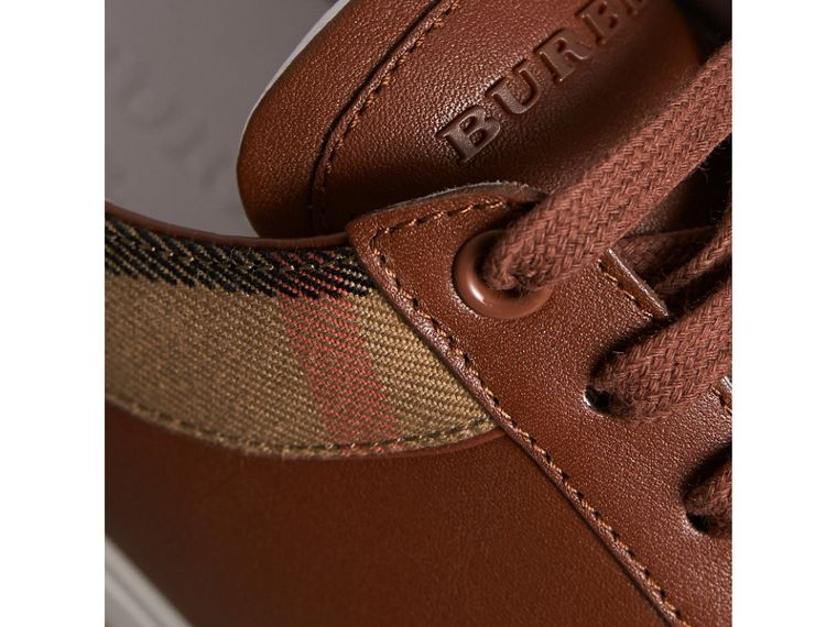 Leather and House Check Trainers in Check/bright Camel - Men | Burberry - cell image 1