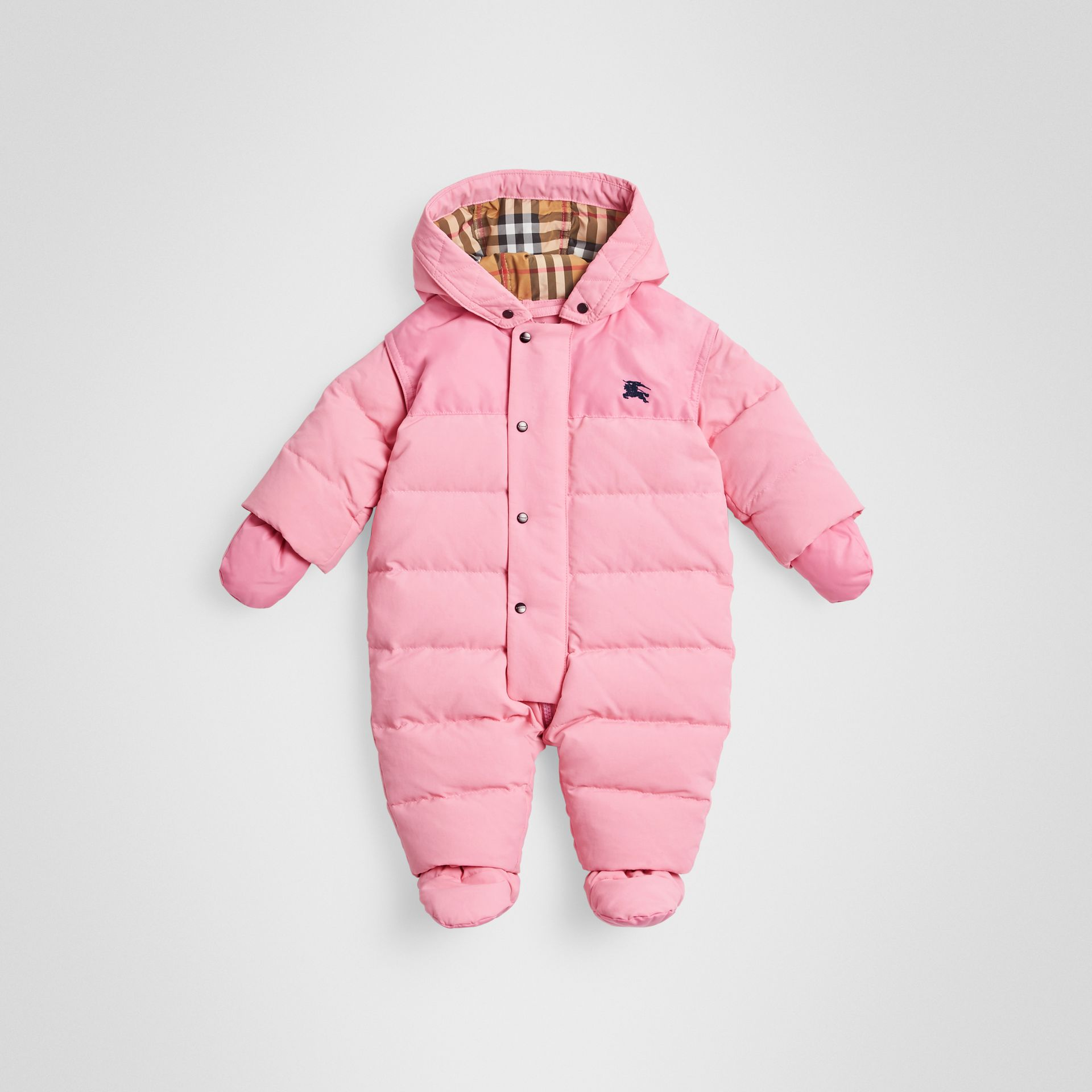 Down-filled Puffer Suit in Ice Pink - Children | Burberry - gallery image 0