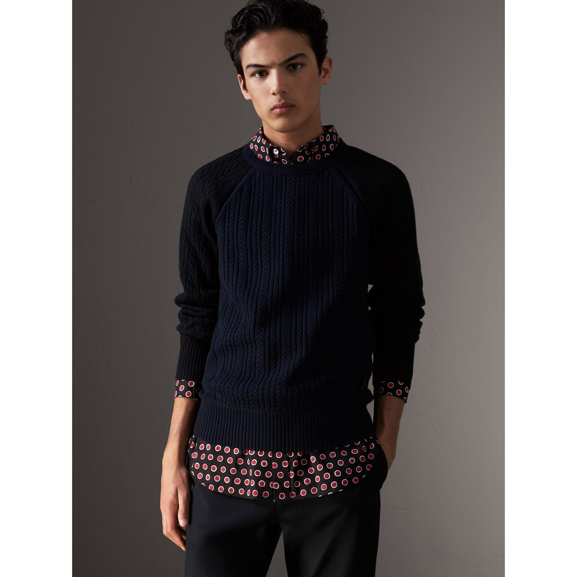 Two-tone Cable Knit Cashmere Sweater in Navy - Men | Burberry - gallery image 0