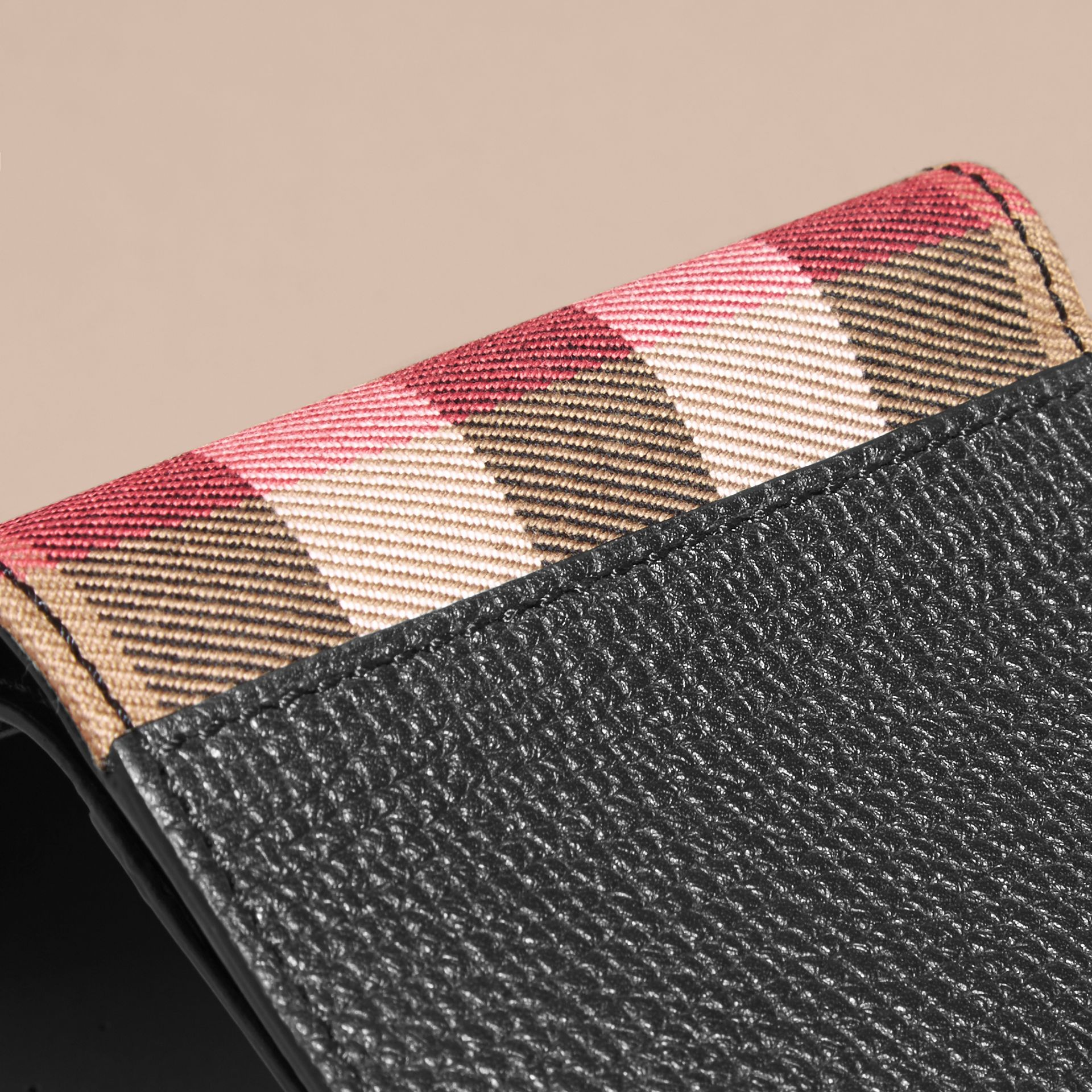 Leather and House Check International Bifold Wallet in Black | Burberry - gallery image 3