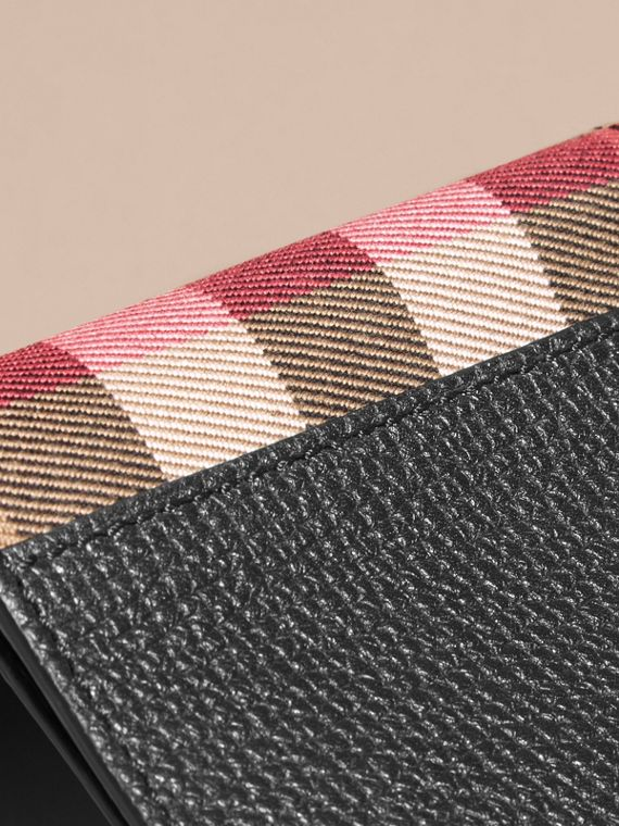 Leather and House Check International Bifold Wallet in Black | Burberry - cell image 3