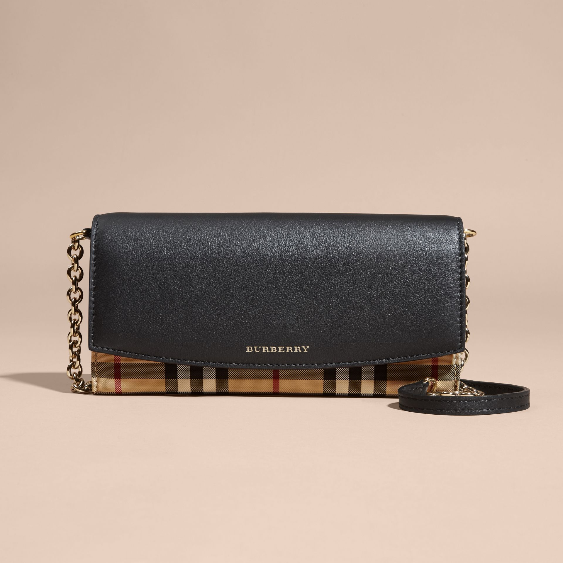 Horseferry Check and Leather Wallet with Chain in Black - Women | Burberry - gallery image 9