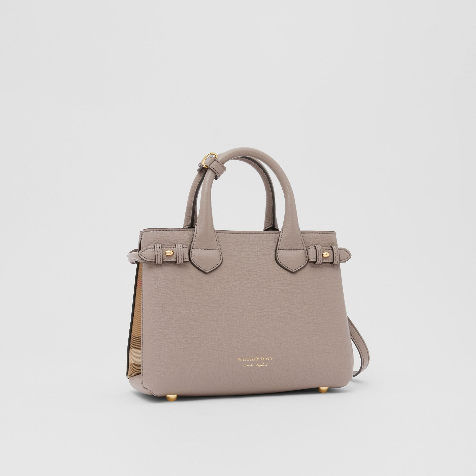 The Small Banner in Leather and House Check in Thistle Grey - Women   Burberry - gallery image 4