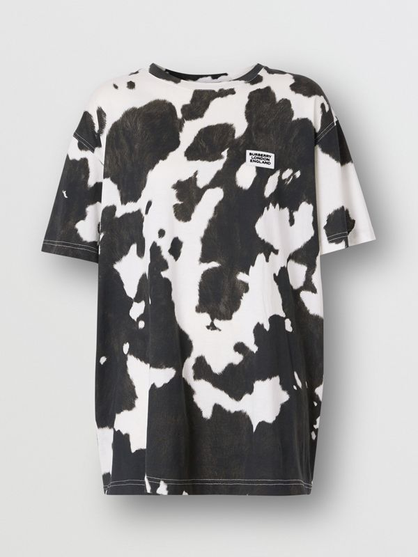 Logo Detail Cow Print Cotton Oversized T-shirt in Black - Women | Burberry - cell image 3