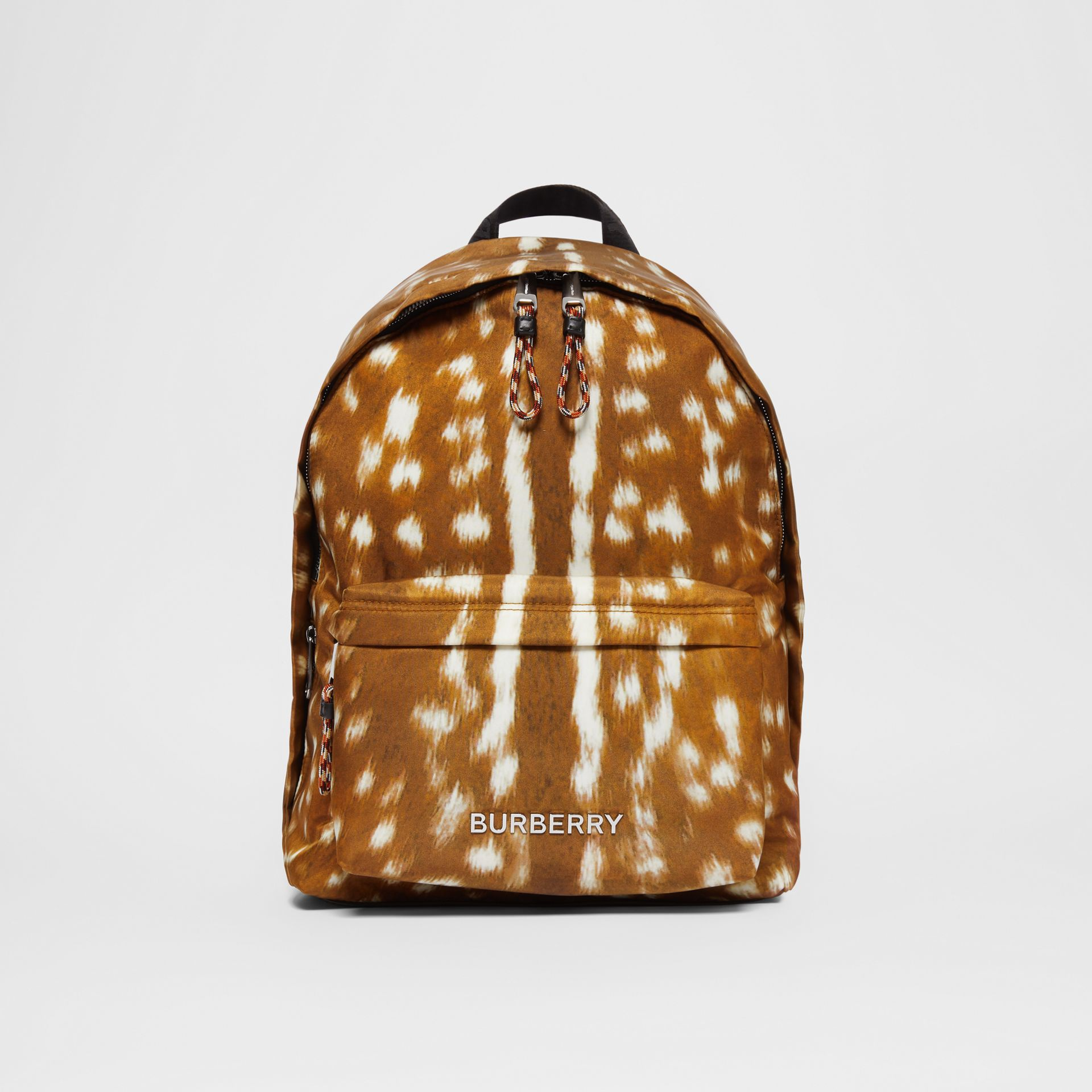 Deer Print Nylon Backpack in Tan/white | Burberry United Kingdom - gallery image 0