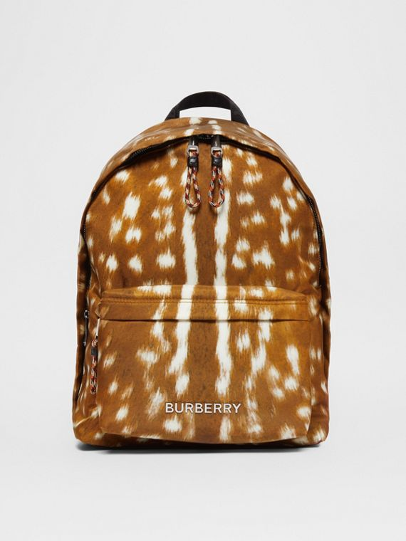 Deer Print Nylon Backpack in Tan/white