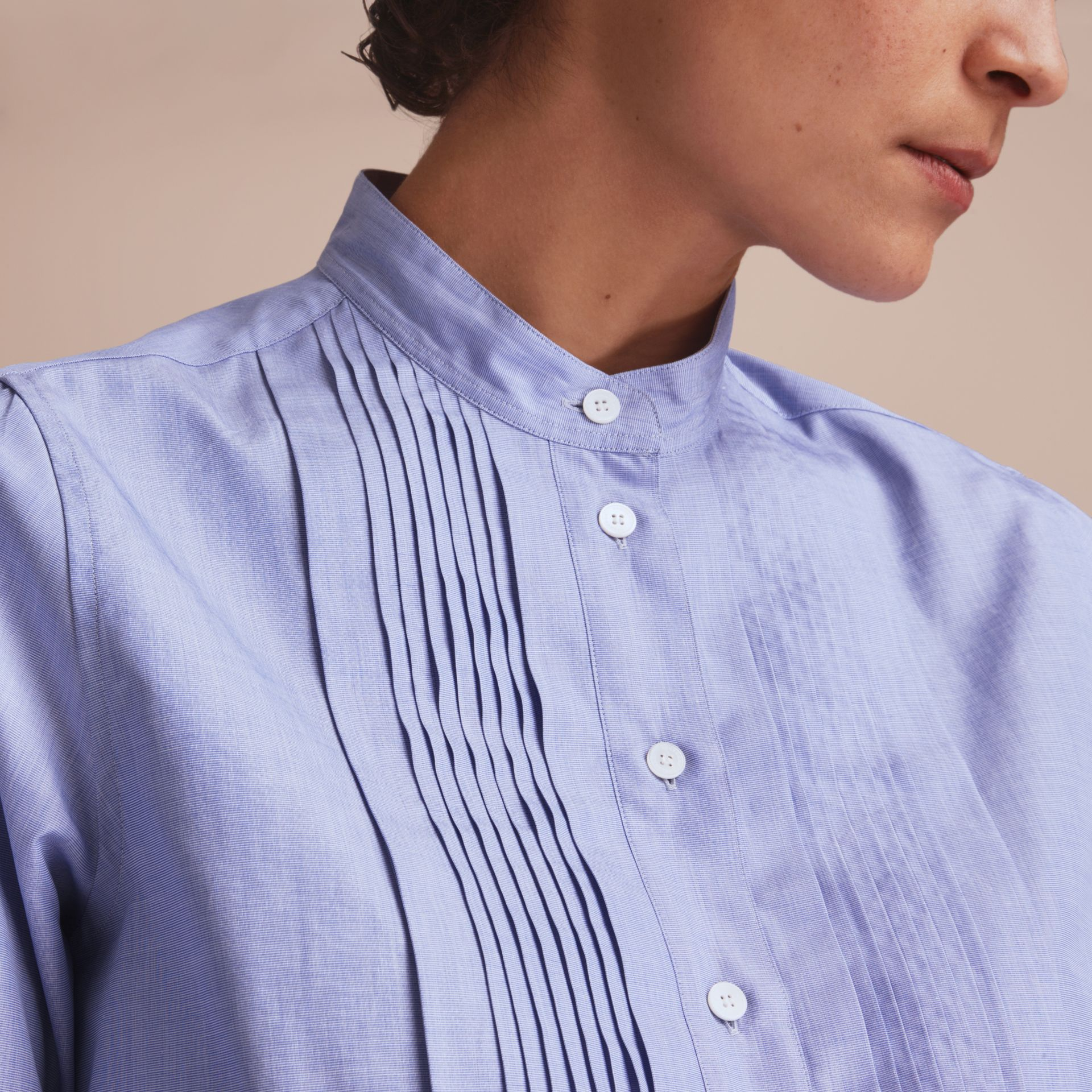 Pintuck Bib Stretch Cotton Shirt in Mid Indigo - Women | Burberry Singapore - gallery image 5