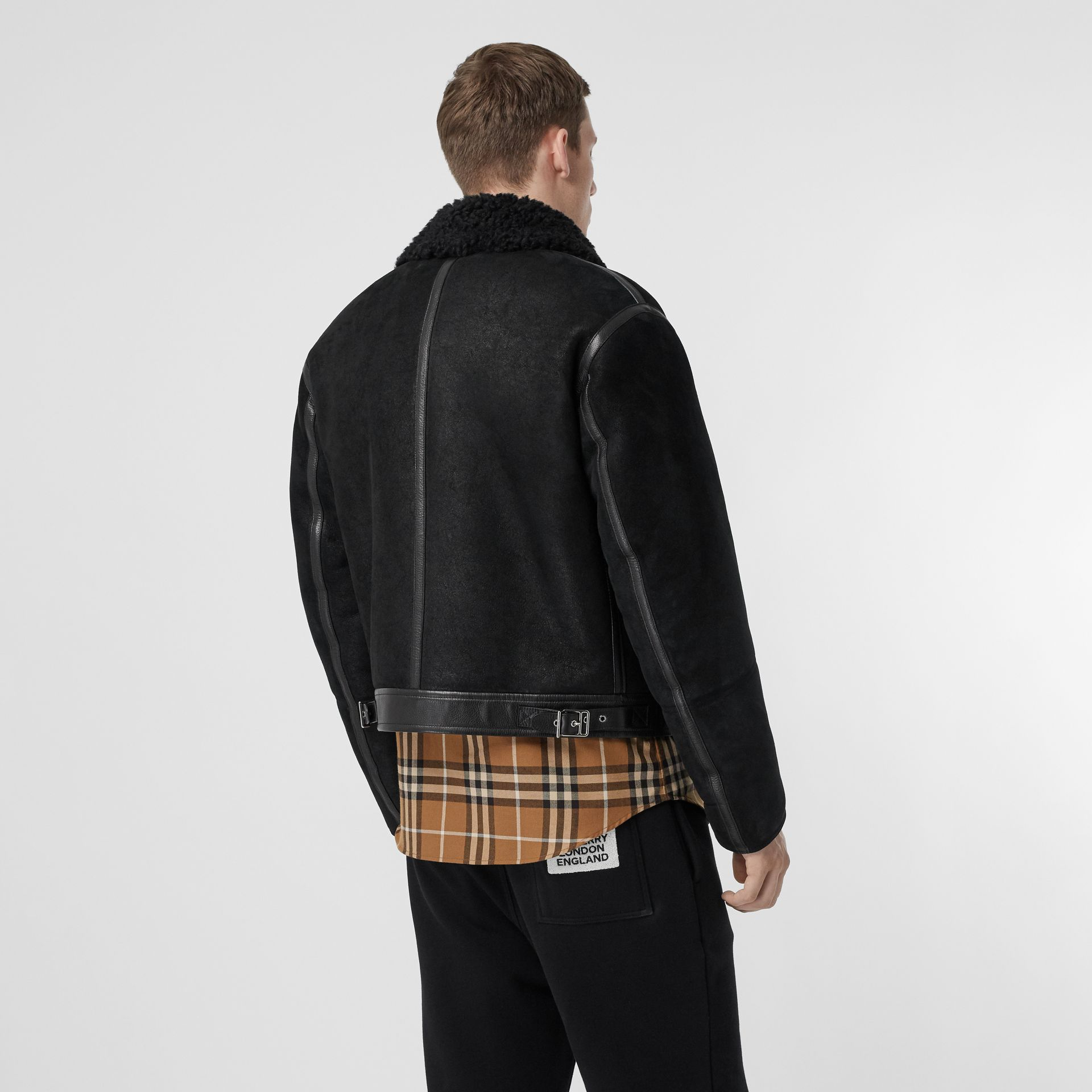 Shearling and Leather Jacket in Black - Men | Burberry Singapore - gallery image 2
