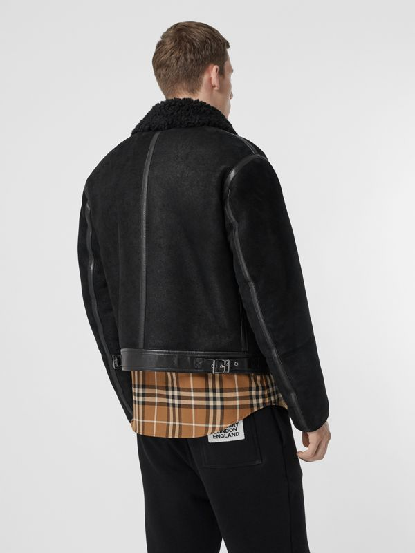 Shearling and Leather Jacket in Black - Men | Burberry Singapore - cell image 2