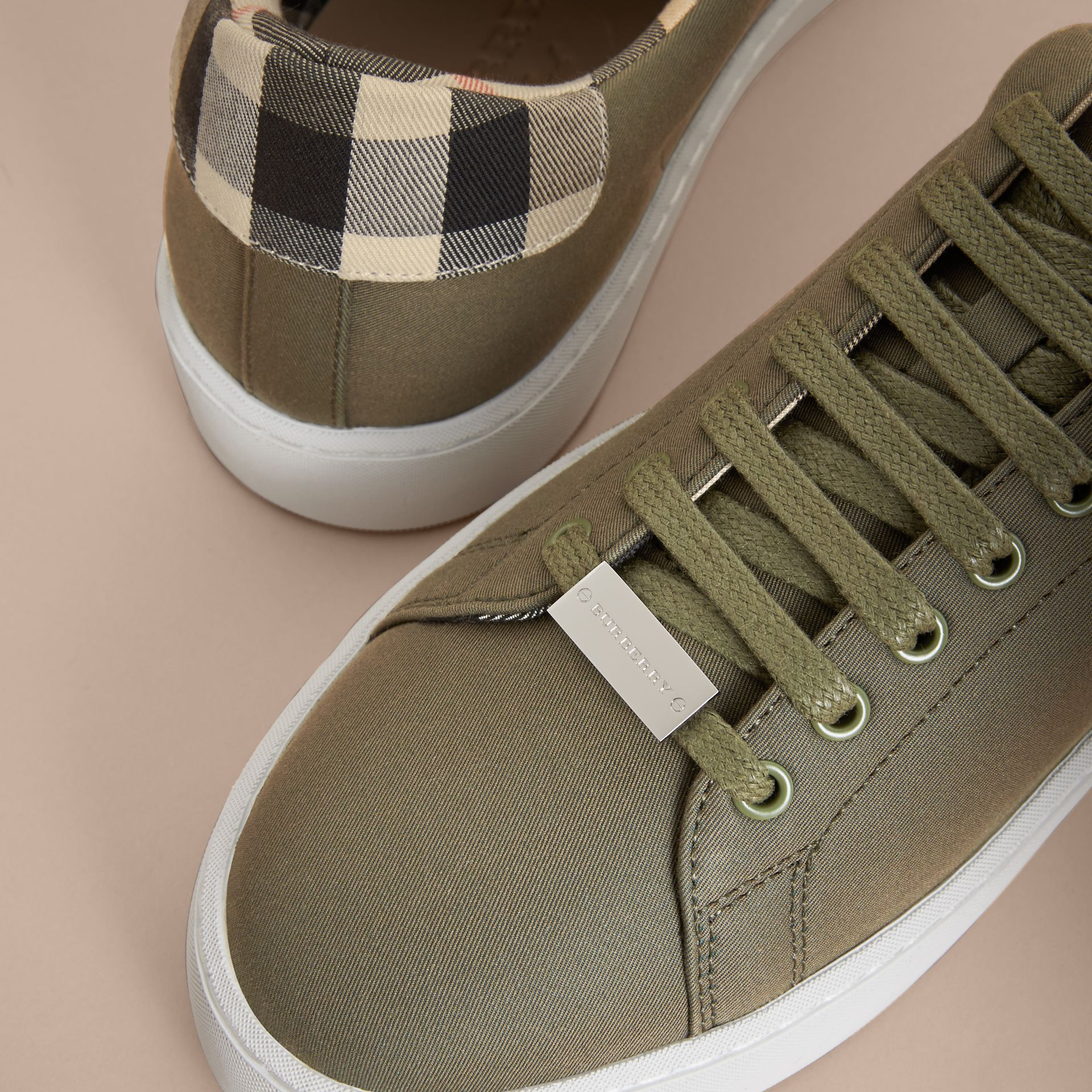 Check Detail Cotton Trainers in Oregano - Women | Burberry Canada - gallery image 2