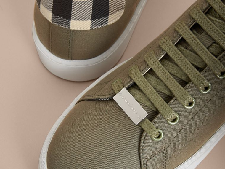 Check Detail Cotton Trainers in Oregano - Women | Burberry - cell image 1