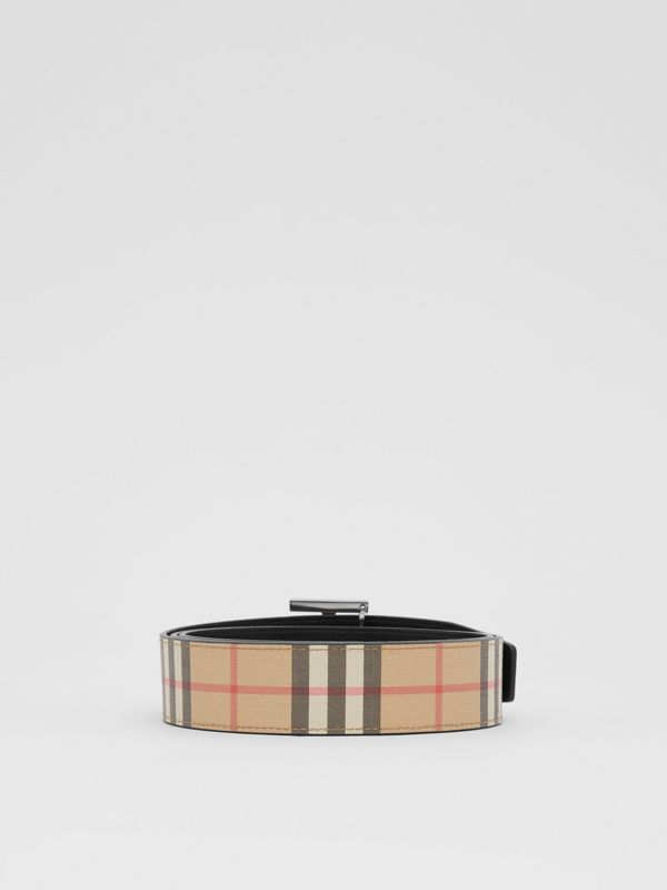 Reversible Monogram Motif Vintage Check Belt in Archive Beige - Men | Burberry United Kingdom - cell image 3