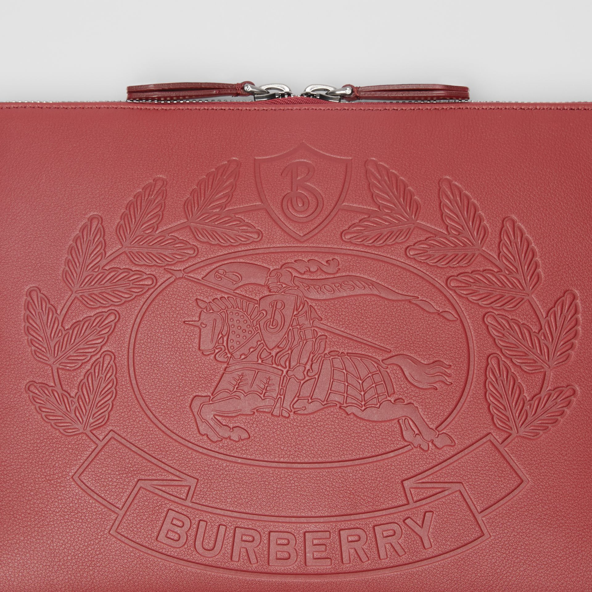 Embossed Crest Leather Document Case in Crimson - Men | Burberry - gallery image 1