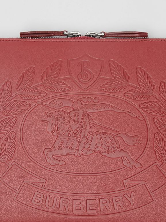 Embossed Crest Leather Document Case in Crimson - Men | Burberry - cell image 1
