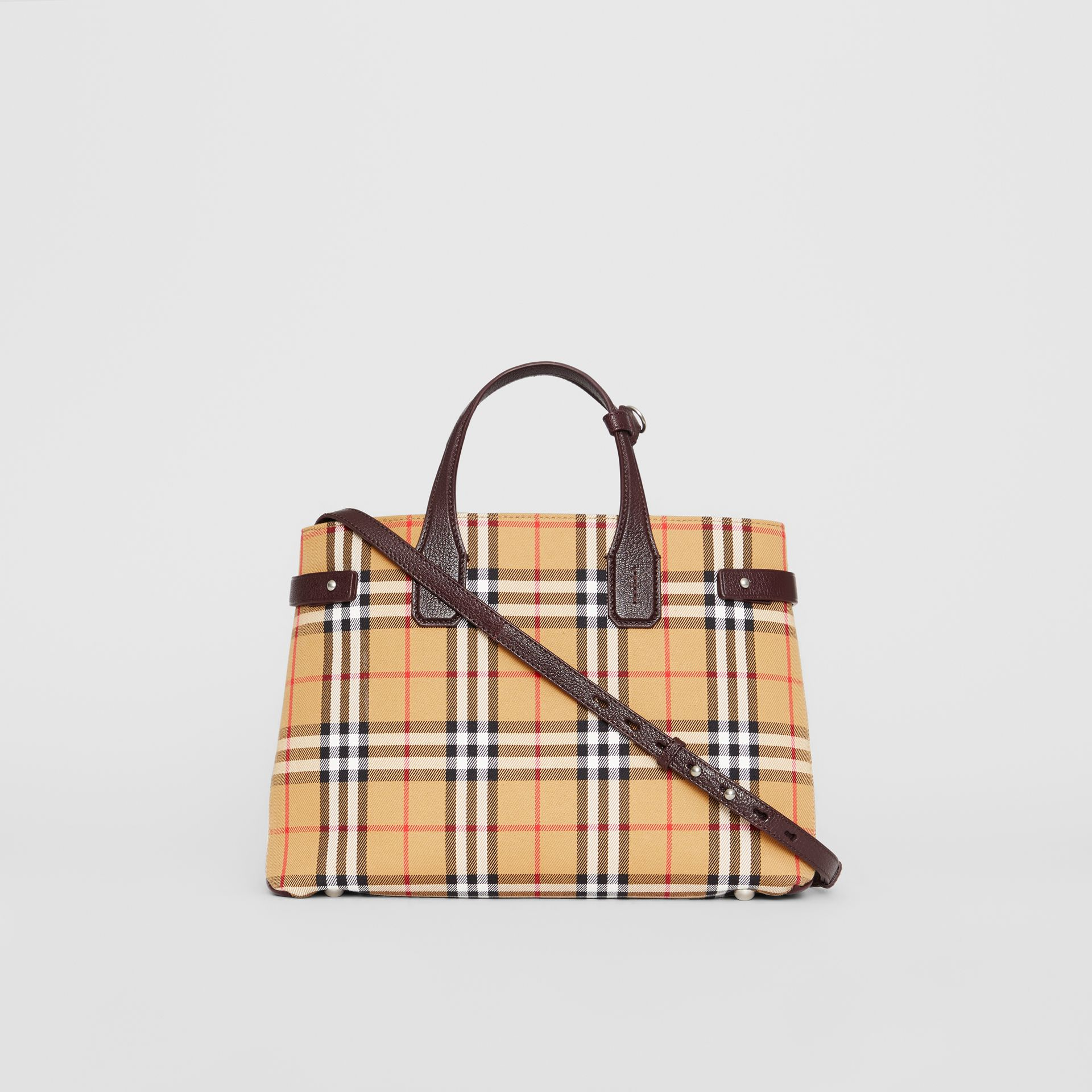 The Medium Banner in Vintage Check and Leather in Deep Claret - Women | Burberry - gallery image 7