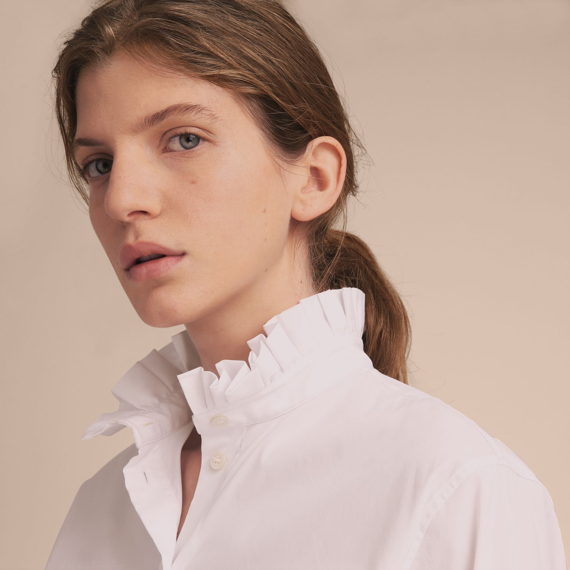 Ruffle Detail Stretch Cotton Poplin Shirt - gallery image 5