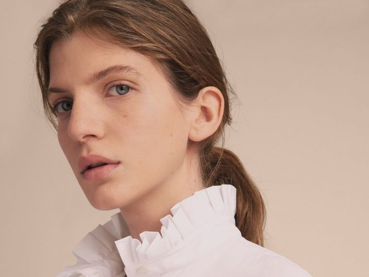 Ruffle Detail Stretch Cotton Poplin Shirt - cell image 4