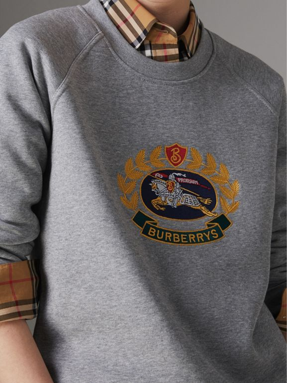 Embroidered Archive Logo Cotton Blend Sweatshirt in Pale Grey Melange - Women | Burberry - cell image 1