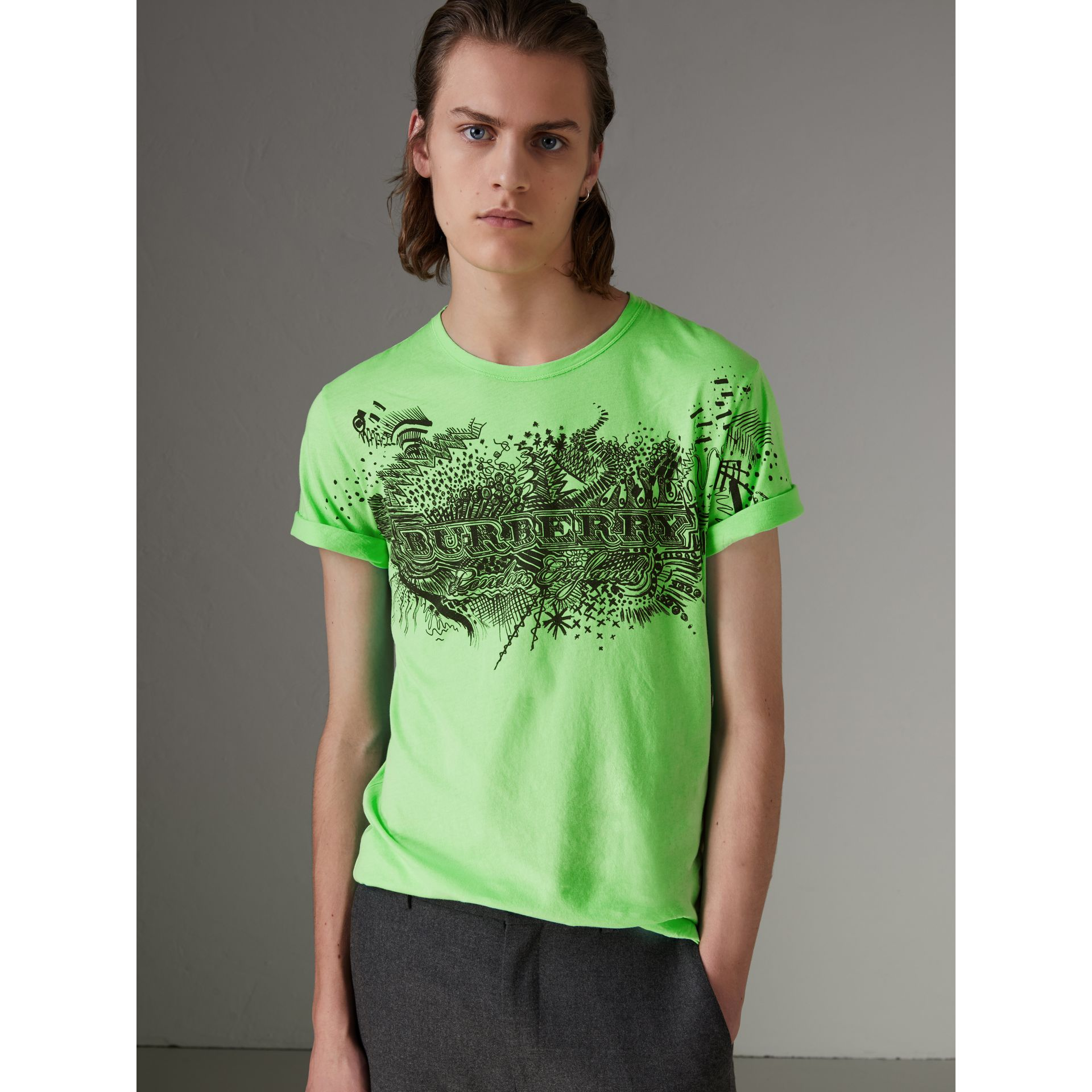 Doodle Print Cotton T-shirt in Bright Apple Green - Men | Burberry - gallery image 4