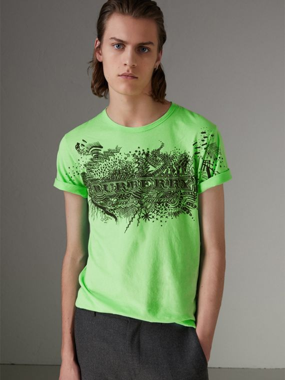 Doodle Print Cotton T-shirt in Bright Apple Green