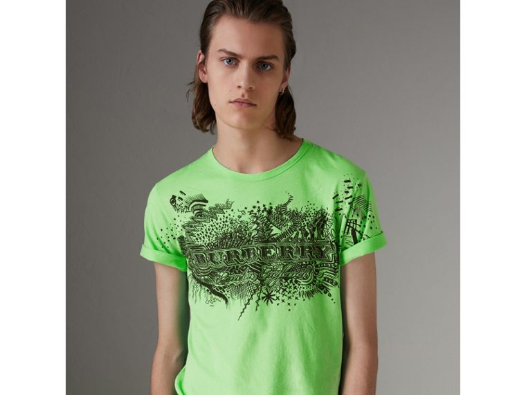 Doodle Print Cotton T-shirt in Bright Apple Green - Men | Burberry - cell image 4