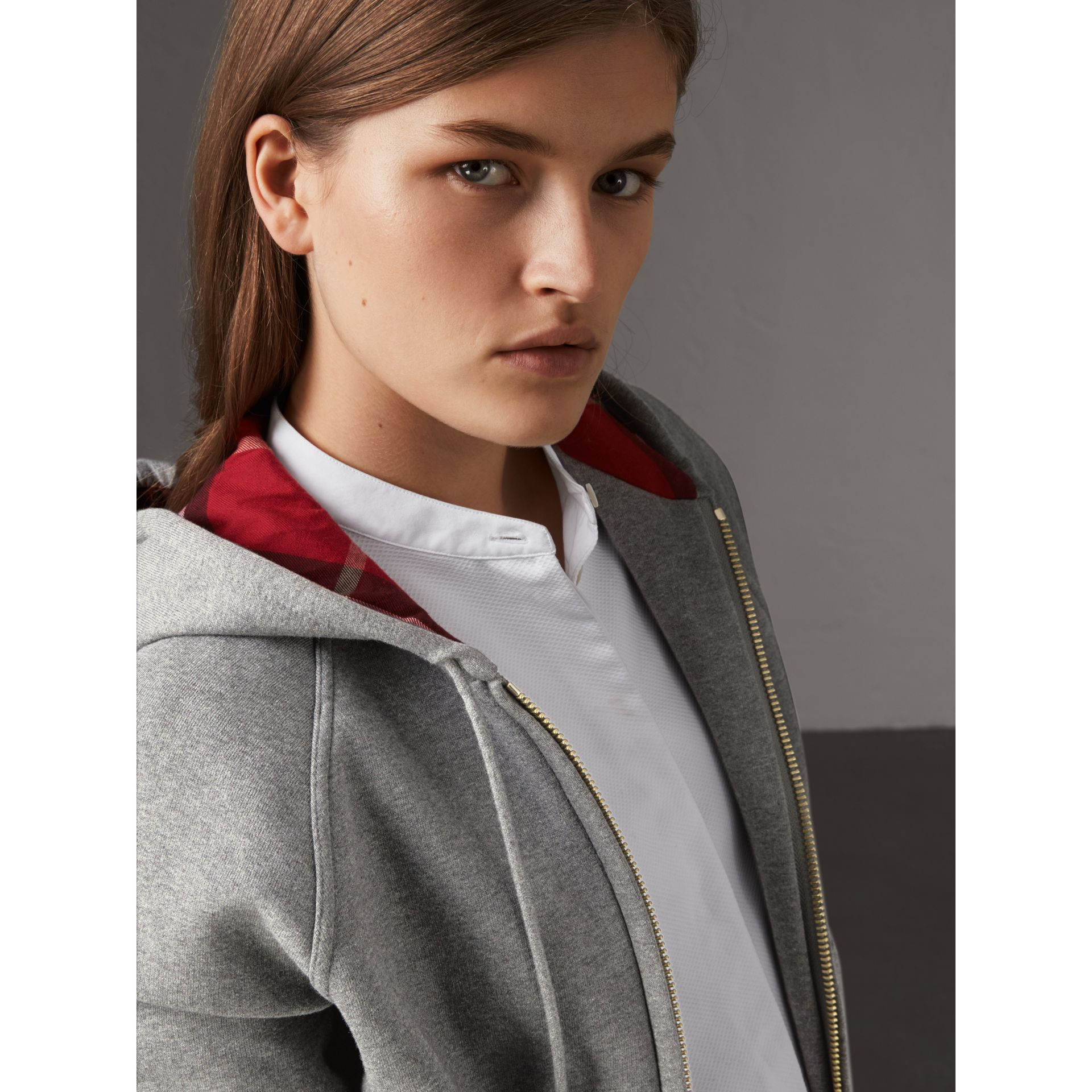 Hooded Zip-front Cotton Blend  Sweatshirt in Mid Grey Melange - Women | Burberry Canada - gallery image 2