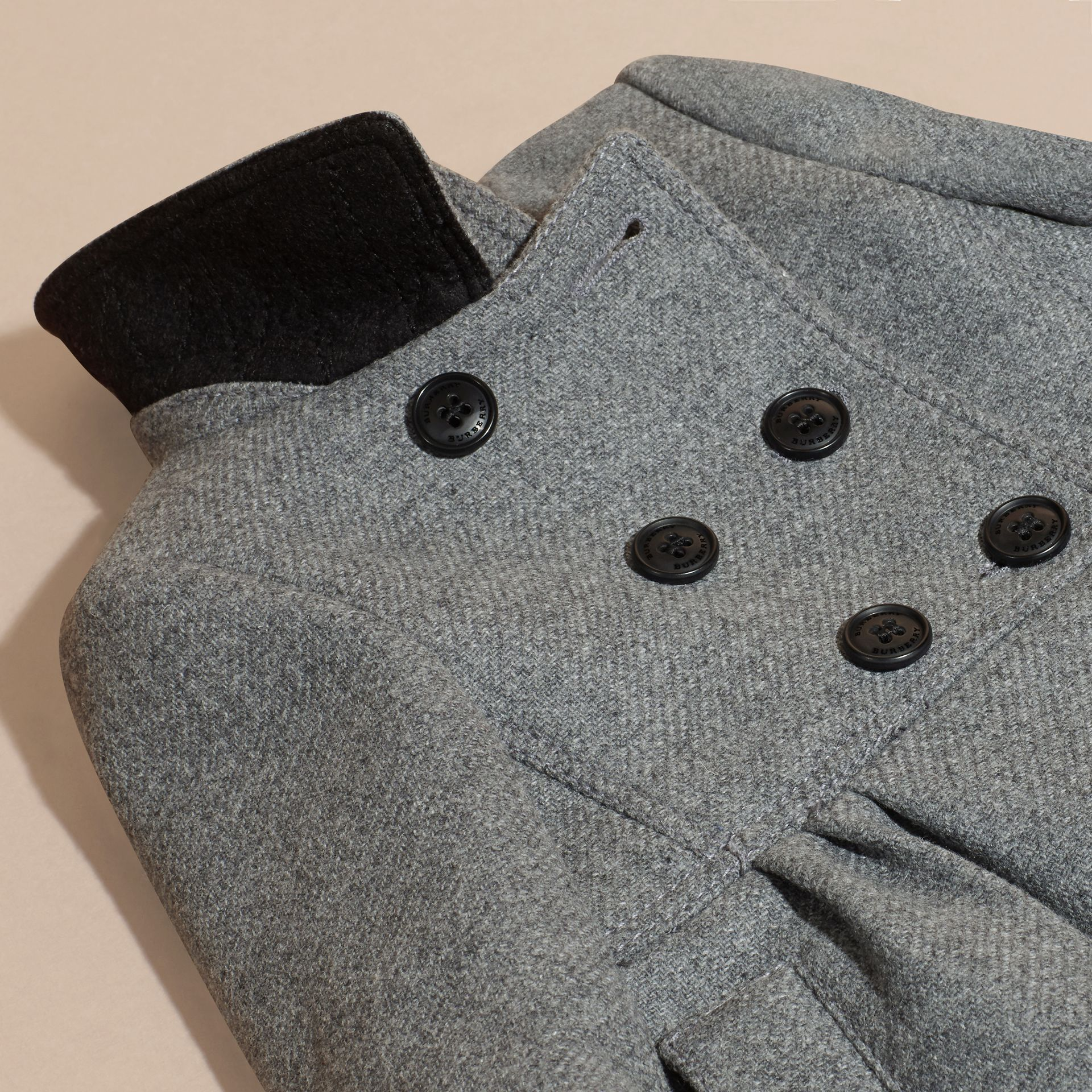 Steel grey melange Tailored Wool Cashmere Blend Coat Steel Grey Melange - gallery image 2