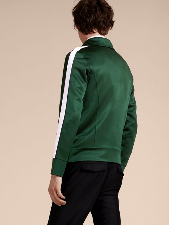 Deep green Stripe Detail Zip Front Jacket Deep Green - cell image 2