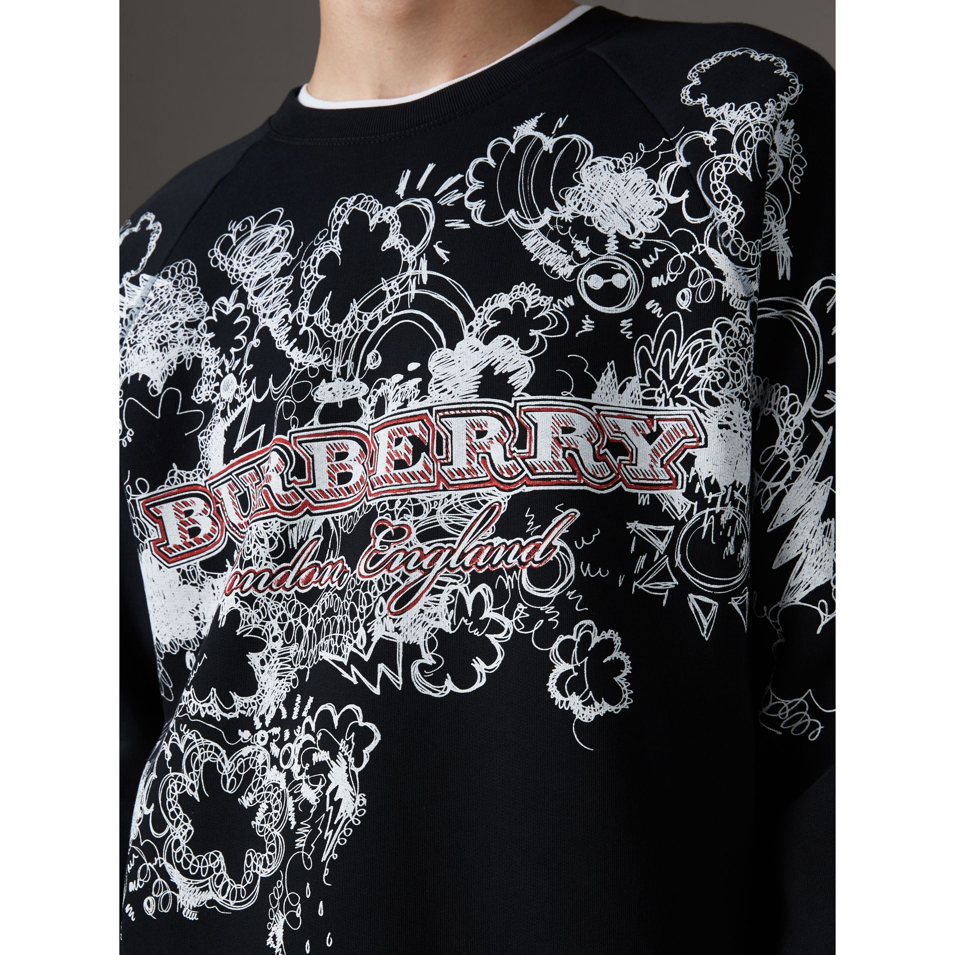 Doodle Print Jersey Sweatshirt in Black - Men | Burberry United States - gallery image 1