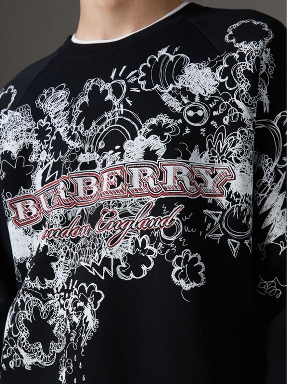 Doodle Print Jersey Sweatshirt in Black - Men | Burberry - cell image 1