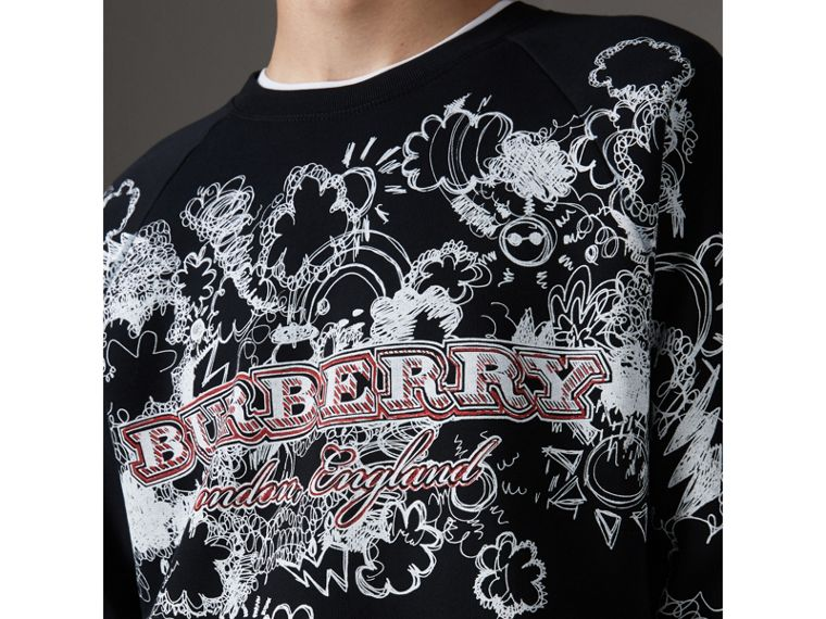 Doodle Print Jersey Sweatshirt in Black - Men | Burberry Singapore - cell image 1