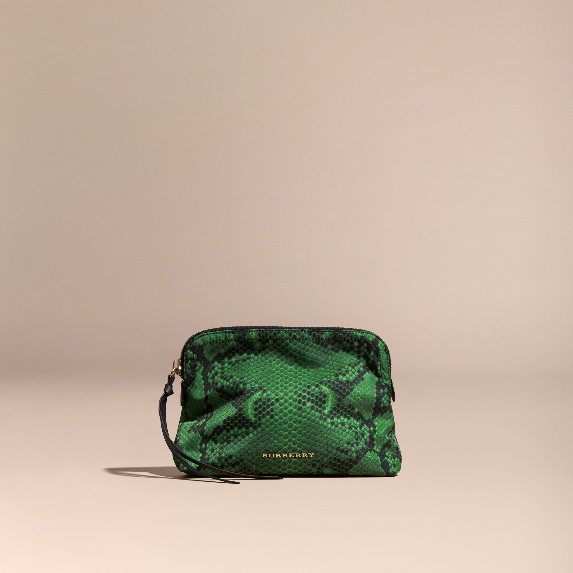 Large Zip-top Python-print Technical Nylon Pouch in Bright Green - gallery image 6